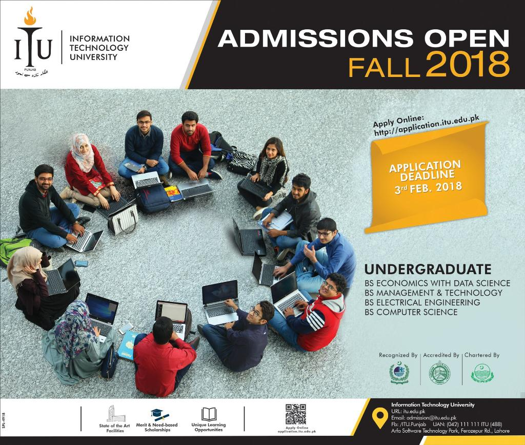 ITU Admission Fall 2018 Information Technology University Form, Last Date
