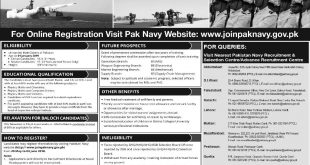 Join Pakistan Navy as PN Cadet 2018 B Registration Online Last Date