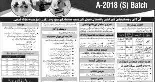 Pakistan NAVY Sailor Jobs 2018 A Batch (S) Online Registration, Test Date