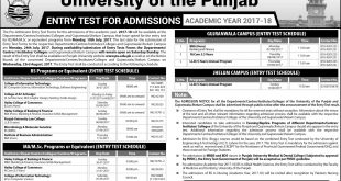 Punjab University PU Lahore BS, BBA, MA, MSc Entry Test Date 2018 Schedule, Form