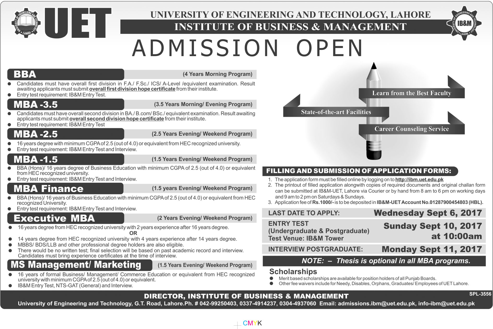 UET IBM Admissions 2018 Schedule For BBA, MBA