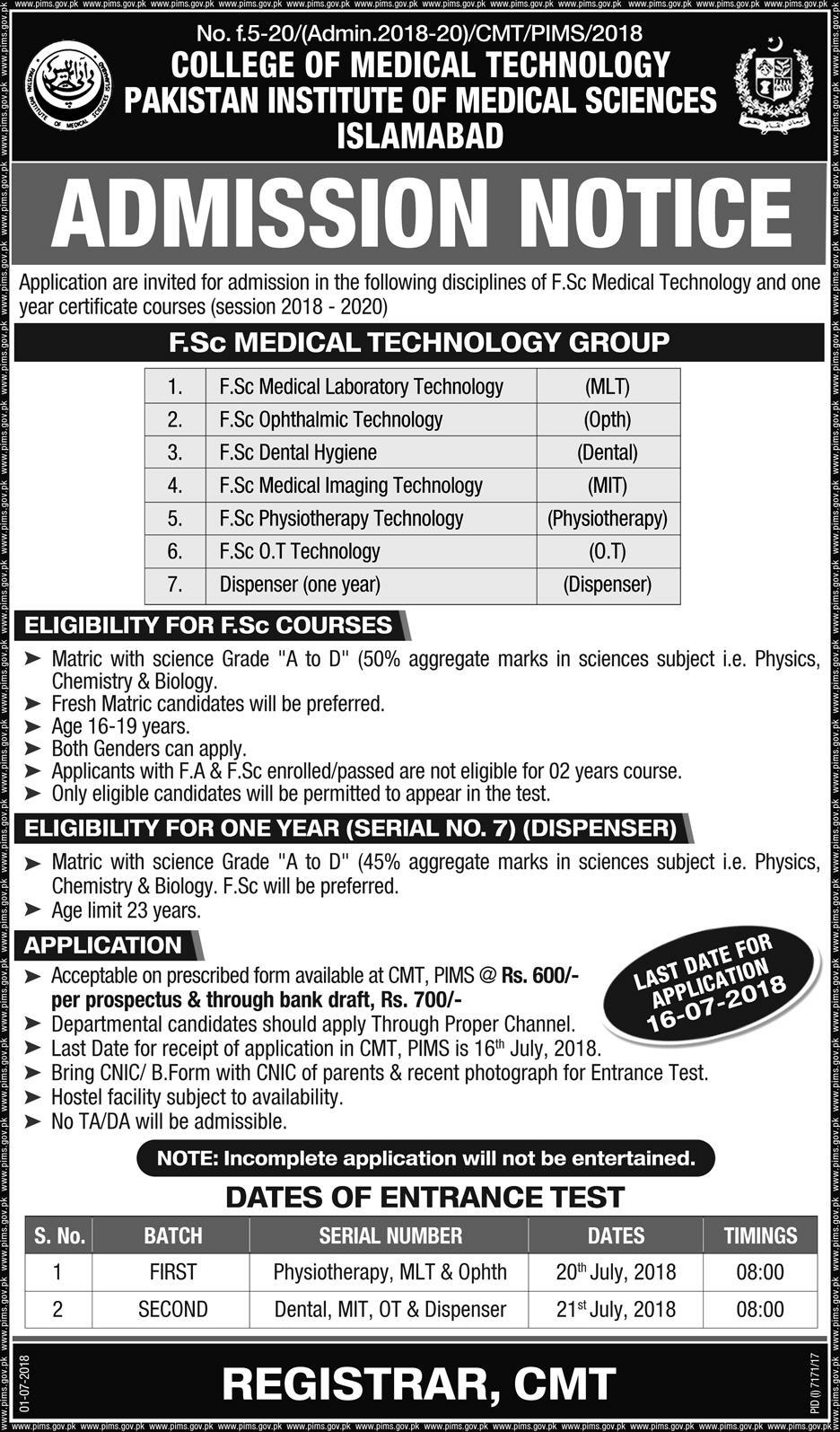 College Of Medical Technology Admission 2019 PIMS SZABMU