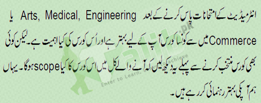 Courses and Career After 12th Class In Pakistan