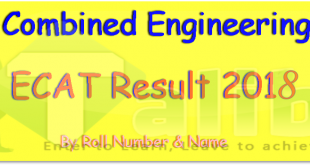 ECAT Result 2018 Online By Roll Number, Name