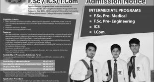 GC University Faisalabad Intermediate Admissions 2017 Form, Merit, Last Date