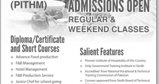 PITHM Karachi Admission 2019 Diploma And Short Courses, Form, Fees