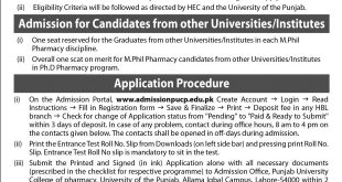 Punjab University PU MS, M.Phil, MSc, PhD Admission 2018 Merit List