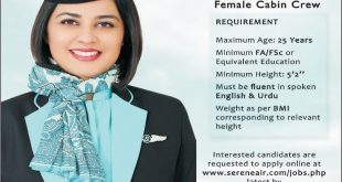 Serene Air Jobs 2017 Female Cabin Crew Apply Online Last Date, Interview