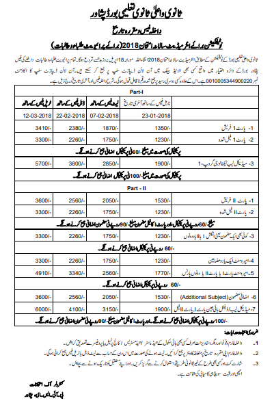 BISE Peshawar Board Intermediate Admission Form 2018, Fee, Date Schedule For Private Students