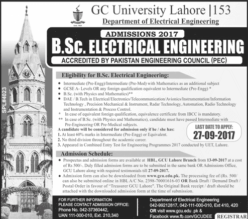 GCU Lahore BSc Electrical Engineering Admissions 2017 Form Last Date, Eligibility