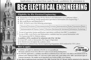 GCU Lahore BSc Electrical Engineering Admissions 2018 Form Last Date
