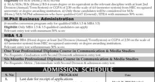 Gomal University DI khan Admission 2018 Form, Last Date