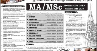 Government College University GCU Lahore MA MSc Entry Test Result 2018 Merit List