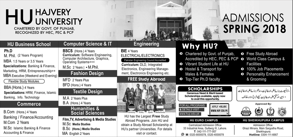 Hajvery University HU Lahore Admission 2018 Entry Test Date, Apply Online