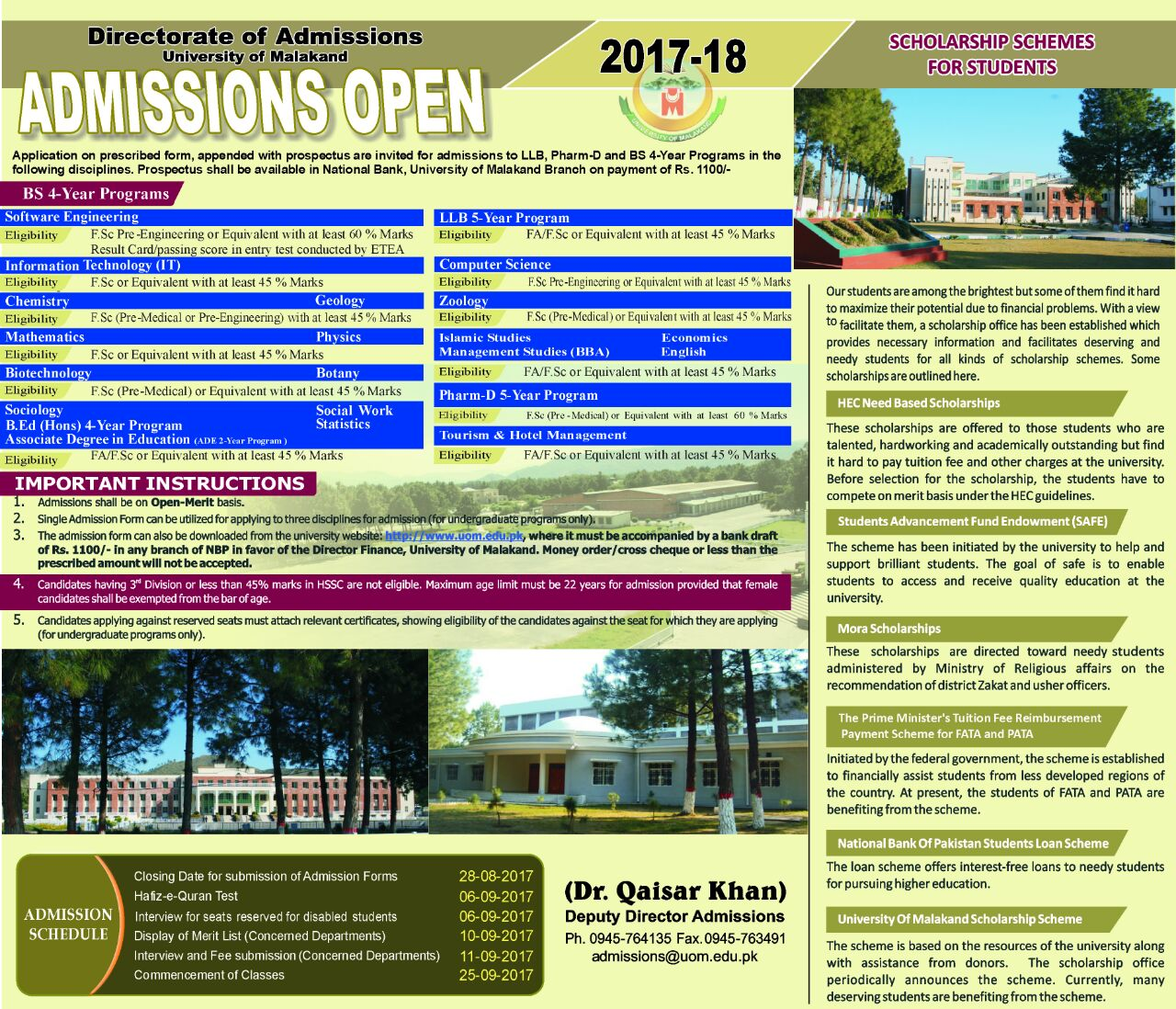 University Of Malakand Admission 2017 BS Form, Merit List, Date Schedule