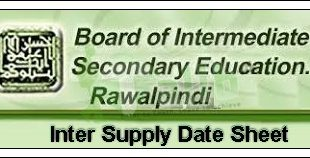 Rawalpindi Board Inter Supplementary Date Sheet 2018 Part 2, 1