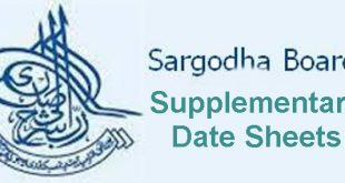 BISE Sargodha Board Inter Part 2, 1 Supplementary Date Sheet 2018