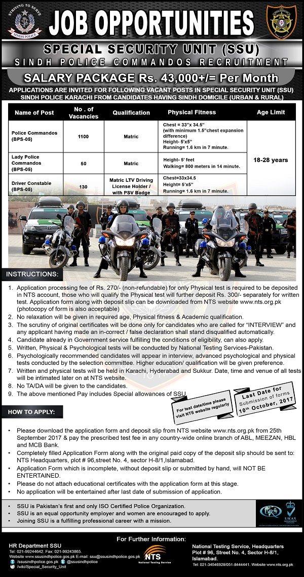 Sindh Police Commandos Recruitment 2017 NTS Application Form, Test Date