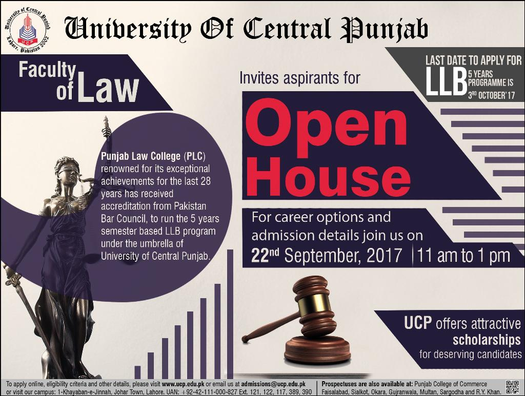 UCP Law College LLB Admission 2017 Form, Last Date