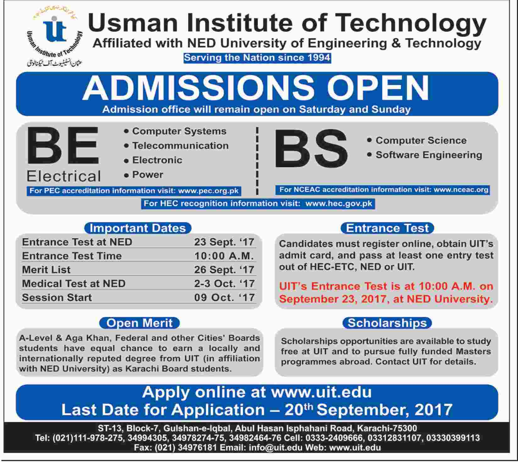 Usman Institute Of Technology Admission 2017 Uit Online Form, Last Date