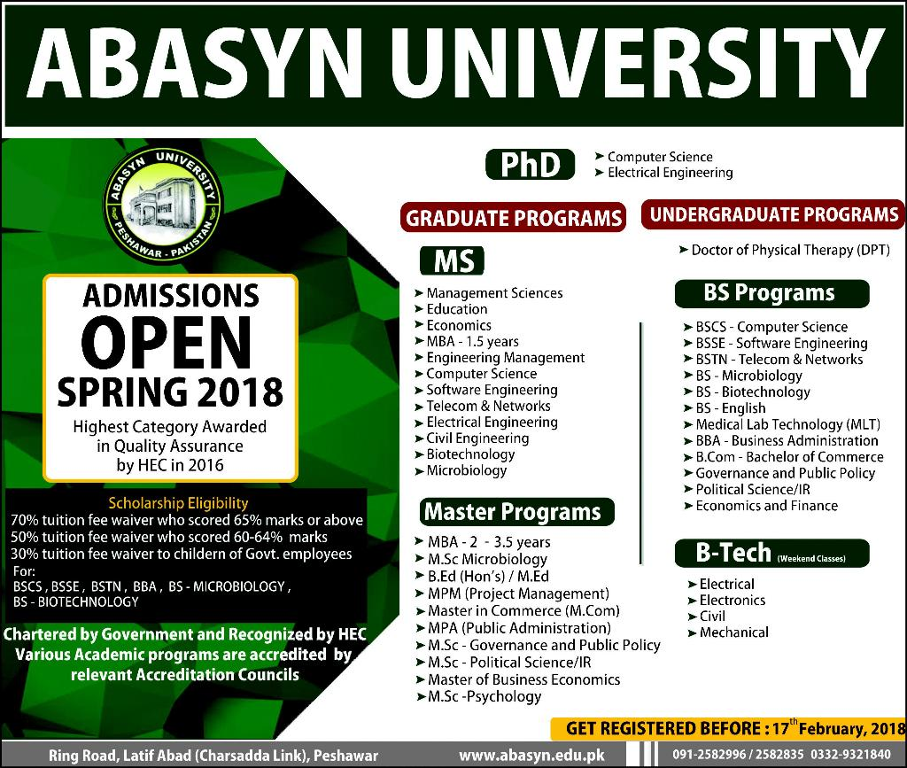 Abasyn University Pharm.D Admissions 2018 Form Last Date, Eligibility