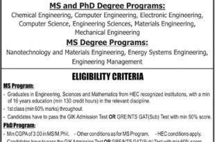 GIKI Graduate Admission 2019-18 Form, Requirement Criteria