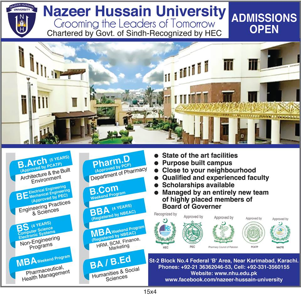 Nazeer Hussain University Admission 2017 Eligibility Criteria, Affiliations