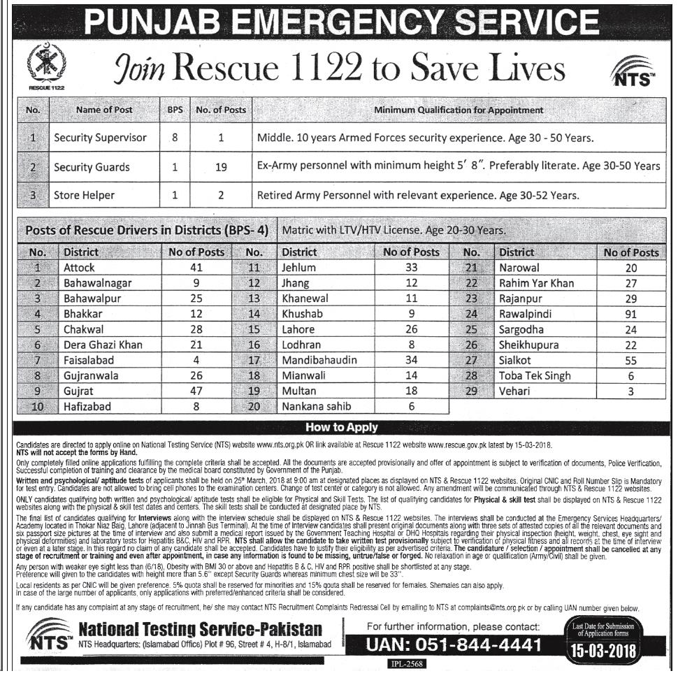 Punjab Rescue 1122 Jobs 2018 NTS Application Form Last Date