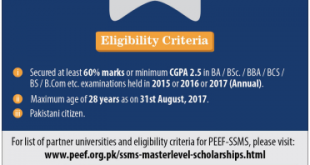 SSMS Master Level Scholarships 2017-18 Application Form, Eligibility