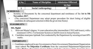 University Of Peshawar M.Phil Admission 2018 Fall Session Form, Last Date