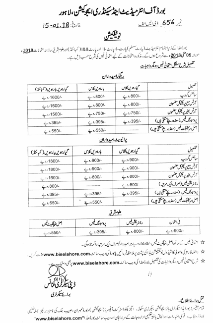 BISE Lahore Board Inter Part 1, 2 Admissions 2018 Form, Fee, Date Schedule Announced