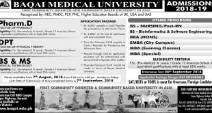 Baqai Medical University Admissions 2018 MBBS, BDS, Pharm D