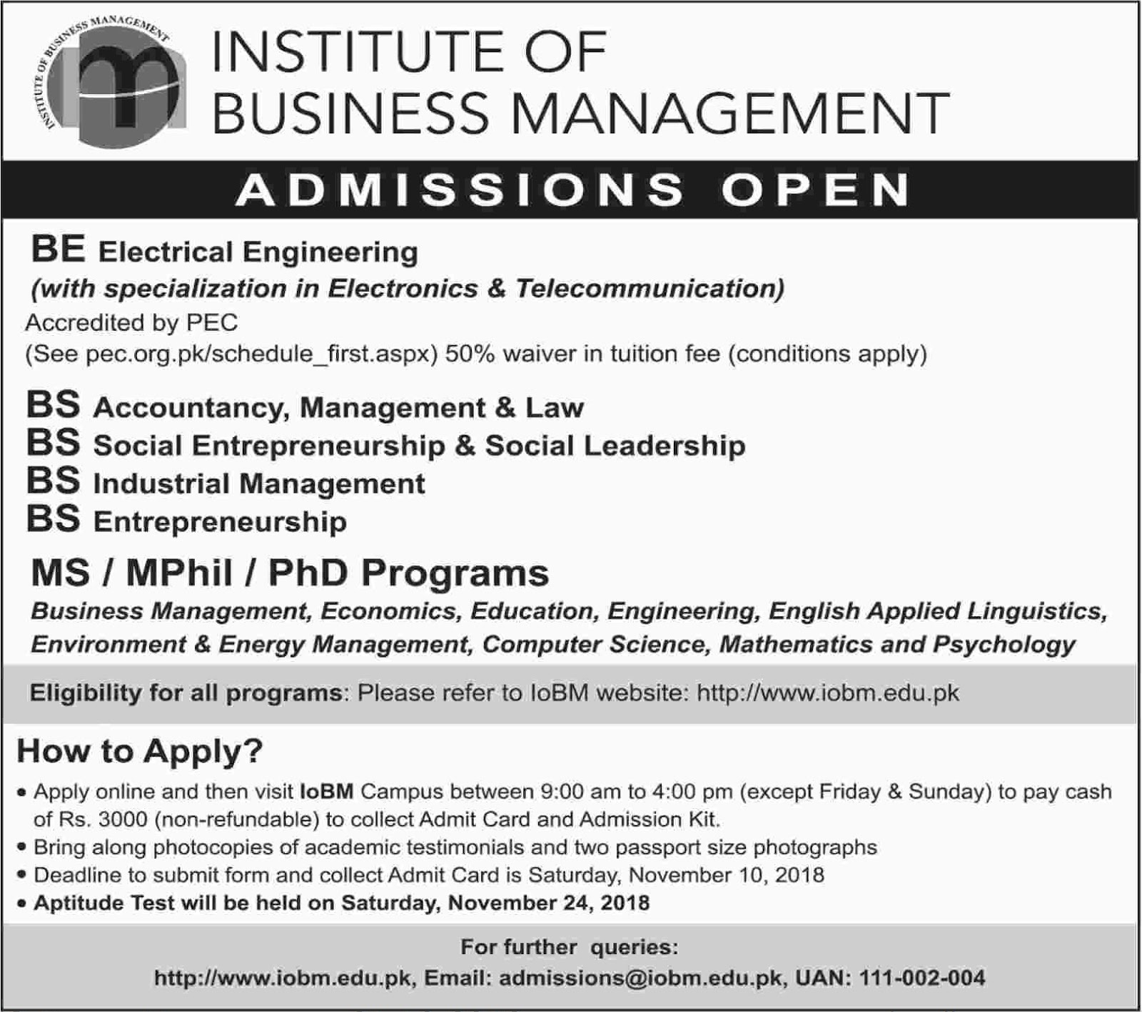 Institute Of Business Management Admission Spring 2019