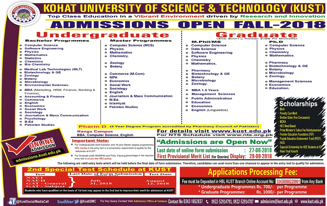 Kohat University KUST Admissions 2018 Ms M.Phil, Phd, MBA Form, Date