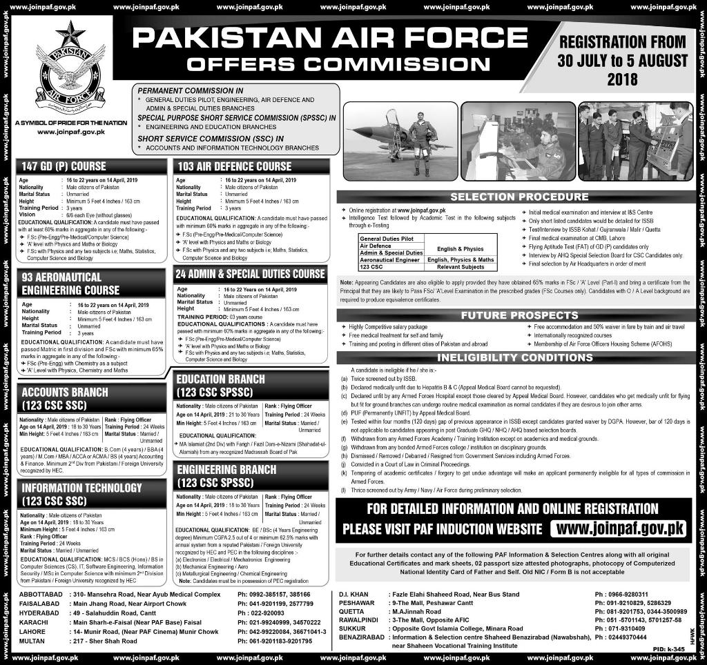 Pakistan Air Force Commission Jobs 2018 As GDP, AEC Online Registration