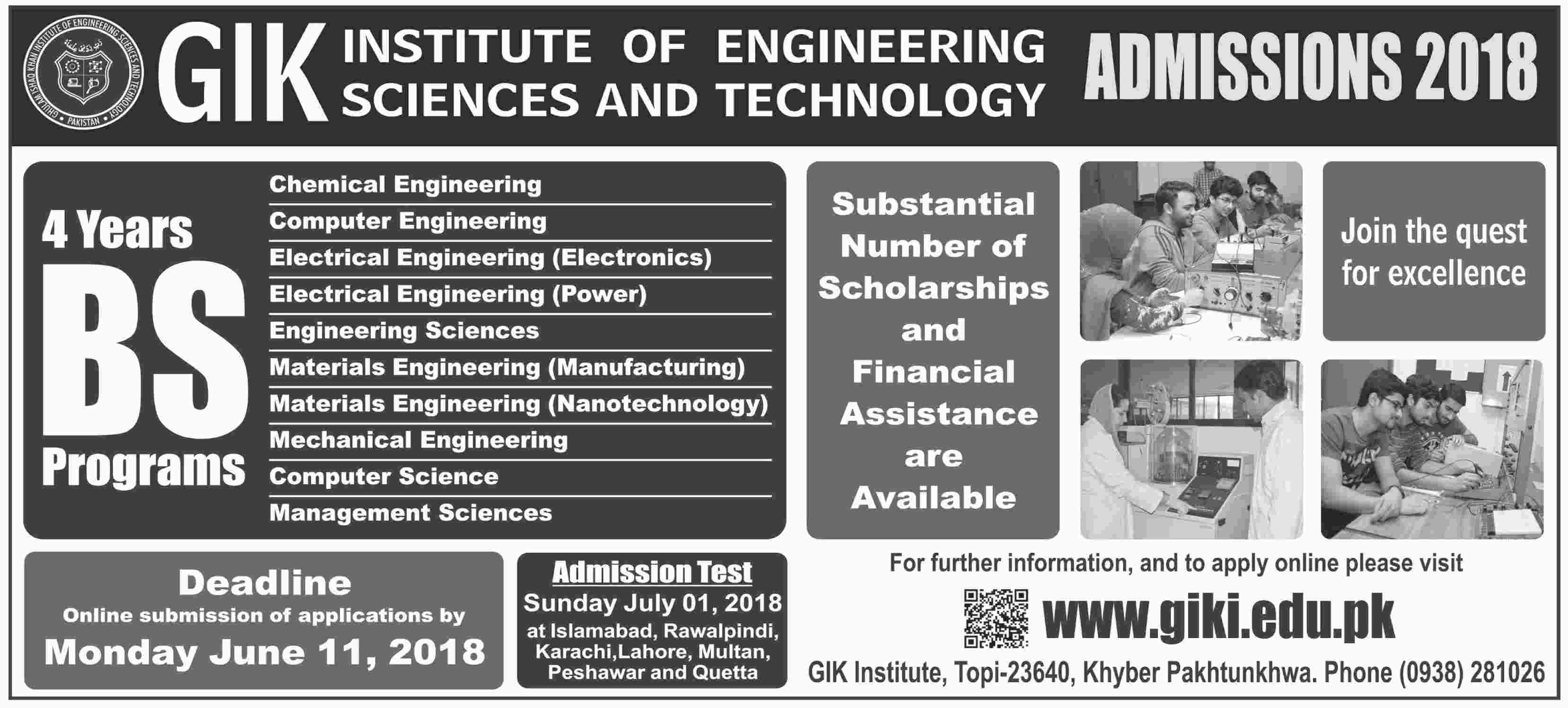 GIKI Admissions 2018 Eligibility Criteria Procedure Requirements