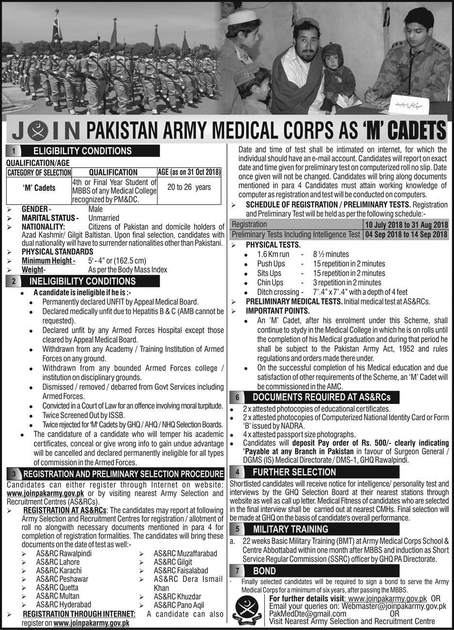 Join Pakistan Army As Medical Cadet 2018 In Army Medical Corps