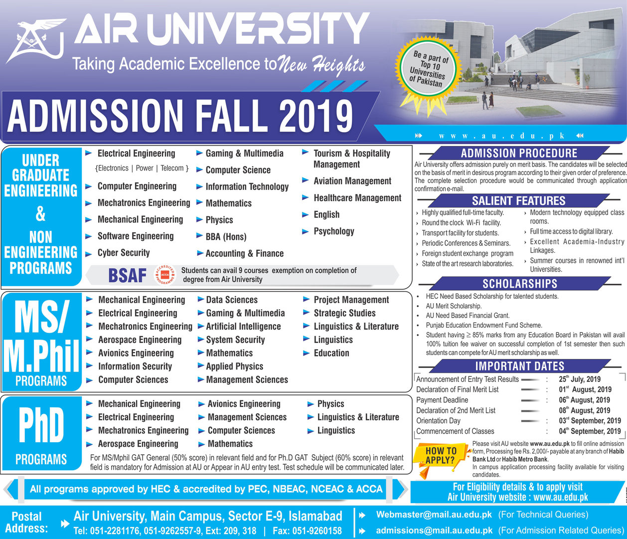 Air University Islamabad Admission 2019 Form Date Schedule
