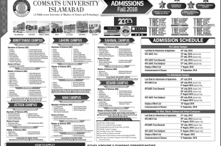 COMSATS Fall Admission 2018 Form Entry Test Schedule, Last Date