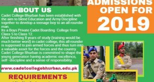 Cadet College Bhurban Admission 2019 Intermediate Form