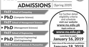 Fast National University Admissions 2019 Form, Test Date, Last Date