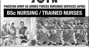 AFNS In Pak Army 2018 Nursing Jobs Online Registration Form, Last Date