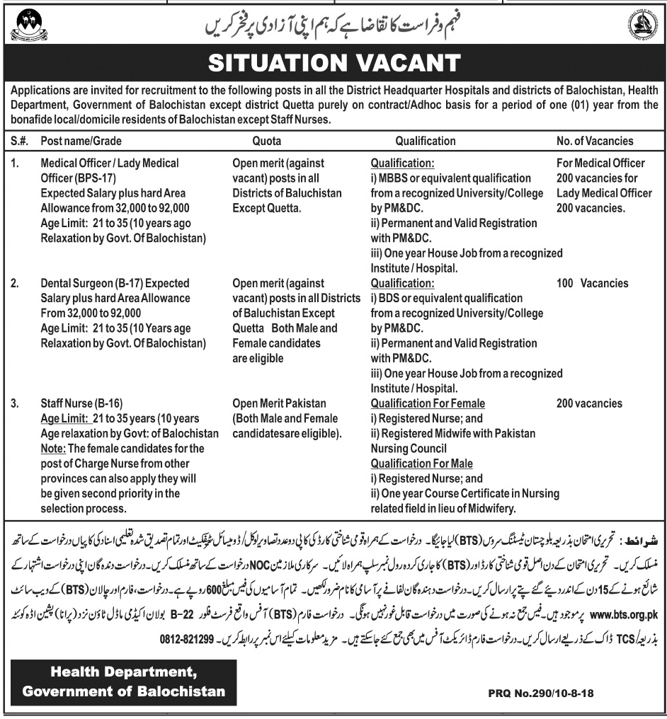 Health Department Balochistan Jobs 2018 BTS Application Form, Last Date