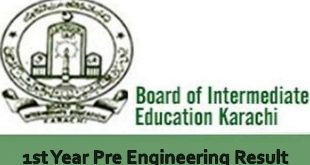 Karachi Board First Year Pre Engineering Result 2019