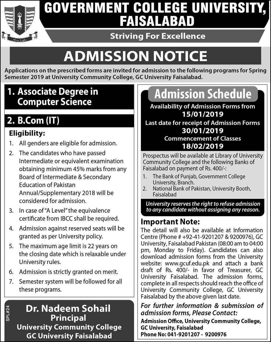 GC University Faisalabad Spring Admission 2019 Form, Last Date