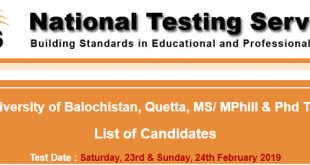 University Of Balochistan NTS Result 2019 For MS MPhil PhD