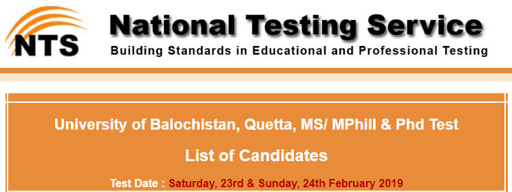University Of Balochistan NTS Result 2019 For MS/ MPhil PhD