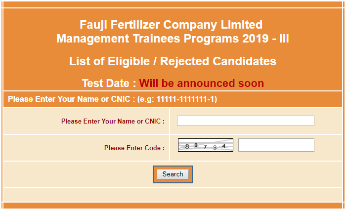 FFC Management Trainee Test NTS Roll Number Slip 2019