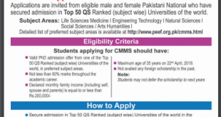 PEEF Scholarship For Phd 2019 Apply Online Registration Form Last Date