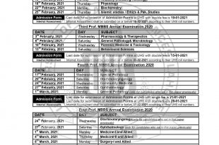 UHS Date Sheet For MBBS Annual Examination 2021